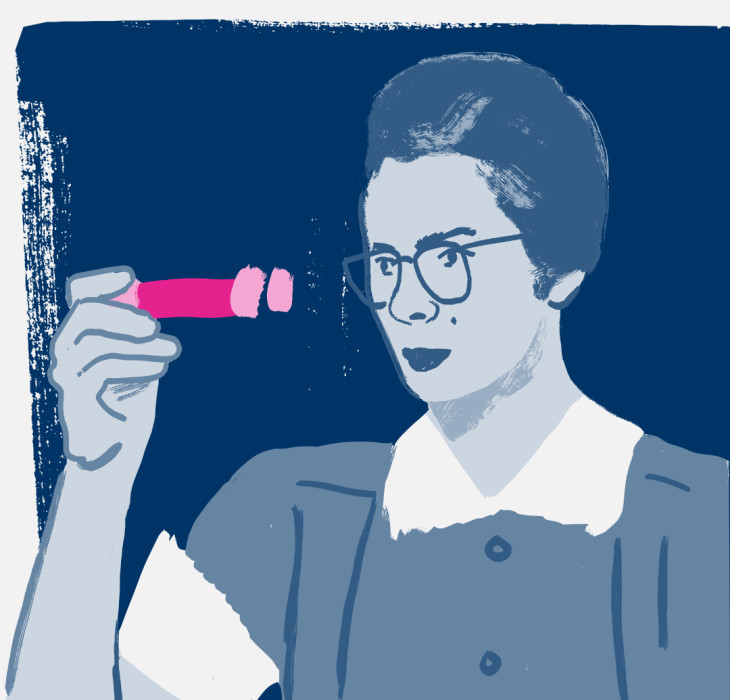 Illustration of Dr Katharine Burr Blodgett looking at a test tube
