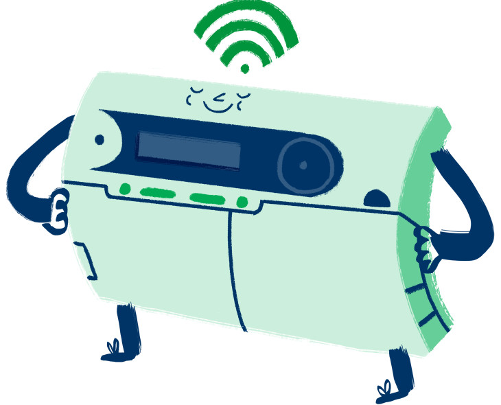 Smiling smart meter illustration