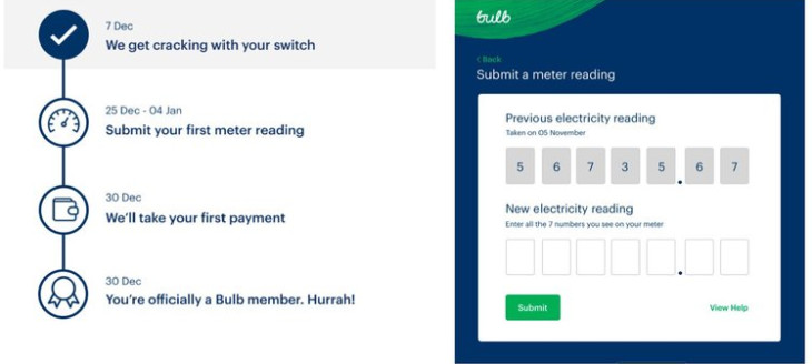 Screenshot of switch timeline (left) and submit meter reading on Bulb account (right)