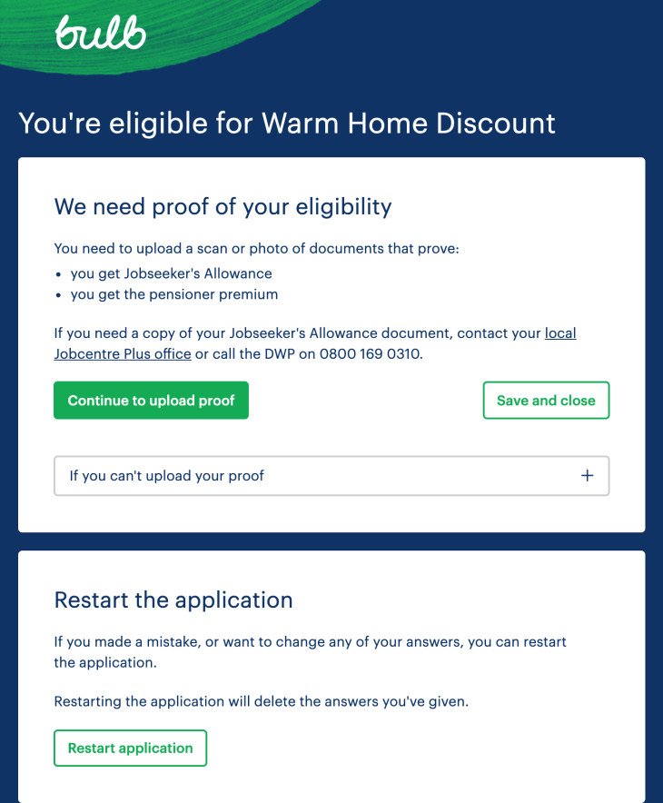An image of the form for the Warm Home Discount application process