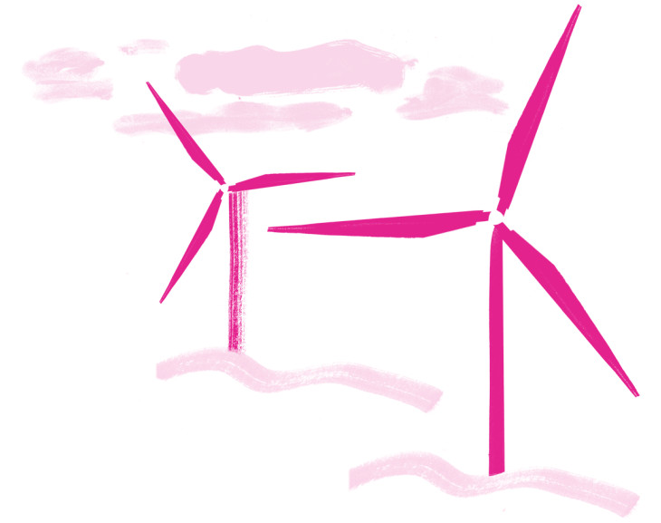 Illustration of some happy pink wind turbines