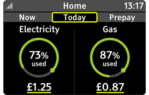 An illustration of the information shown on the Today tab. Electricity is on the left and gas is on the right. Each shows the usage in pounds and pence, and a percentage indiciating how much of the budget has been used.