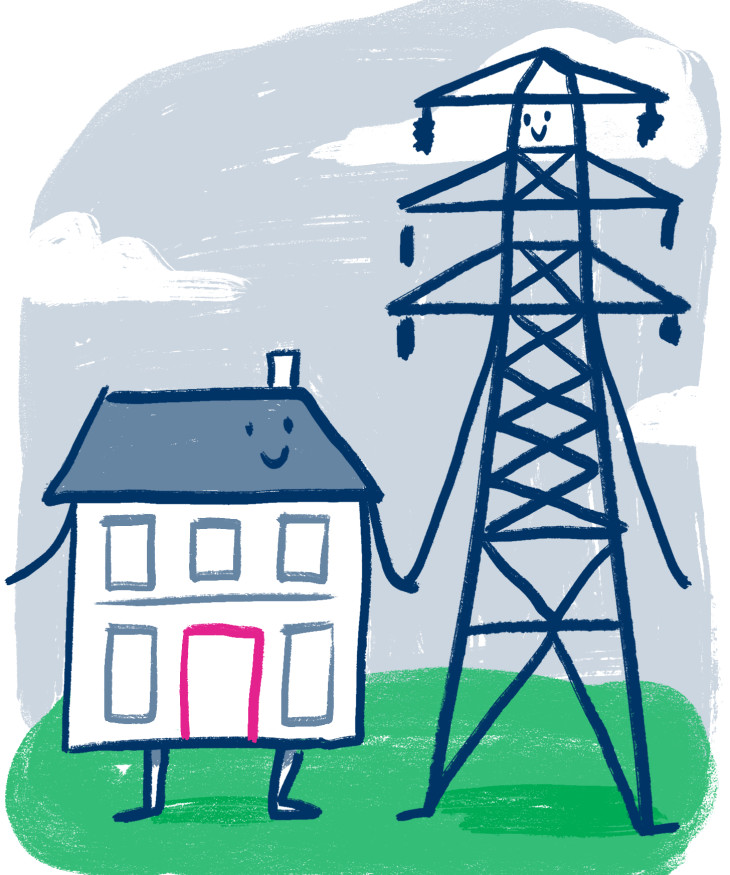 Illustration of a smiling house holding hands with a pylon