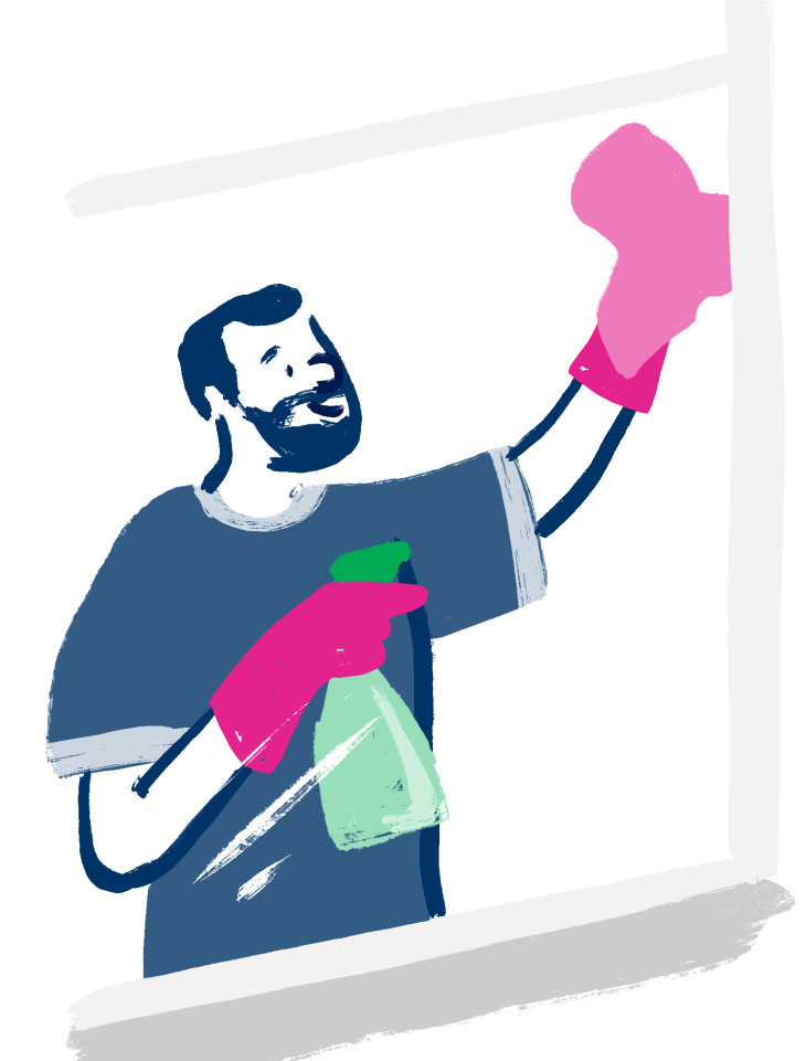 Illustration of a homeowner cleaning his double glazed windows