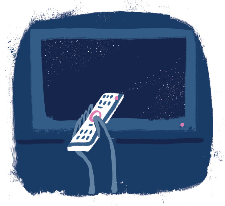An illustration of a person turning off their TV with a remote.