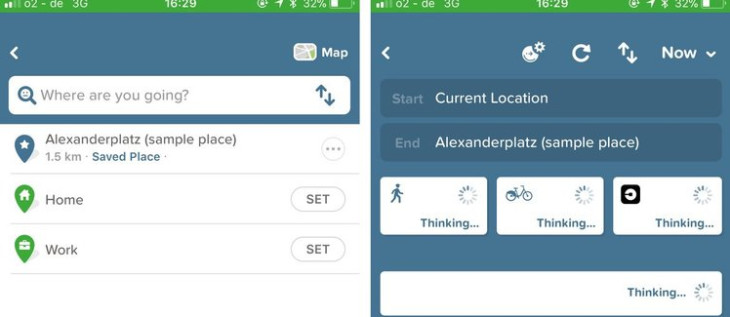 "A screenshot from Citymapper, showing how ""Design for humans"" principle manifests through in-app microcopy"