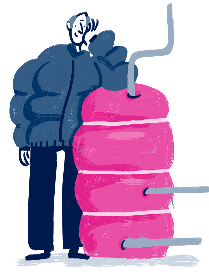 Illustration of a chap wearing matching puffa coats with his hot water tank
