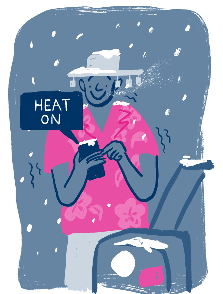 Bul illustration of a man switching on his heating remotely, wearing holiday clothes and with a suitcase in snow