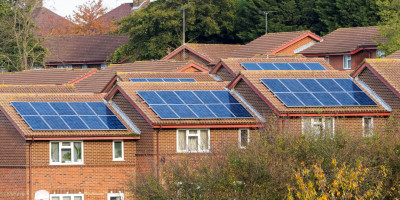 Solar panels on houses in London