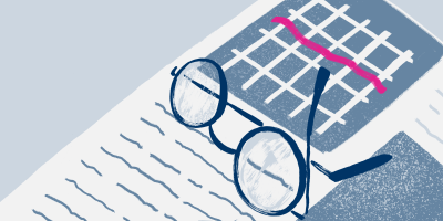 An illustration to show a member's glasses on top of a recent energy bill
