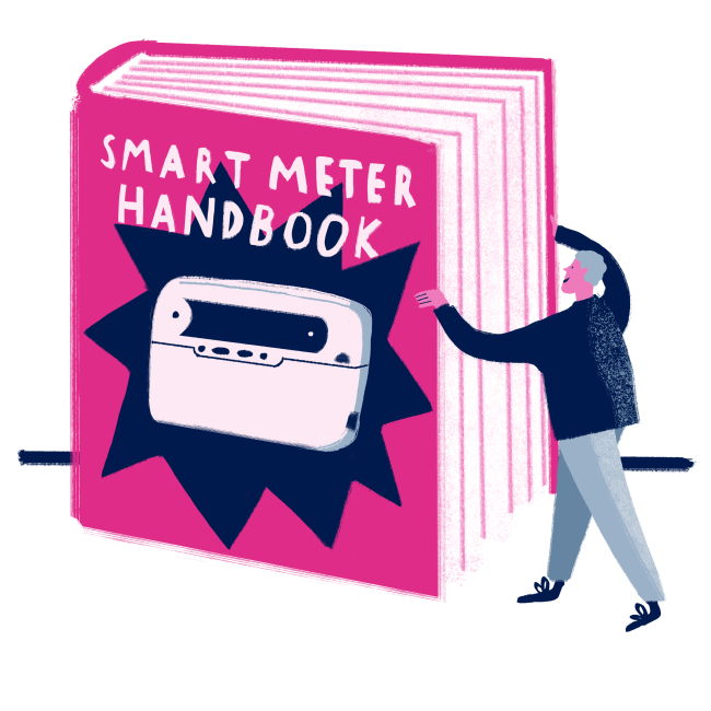 Illustration of someone opening a great big handbook
