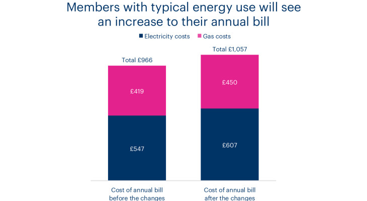 A chart showing a Bulb annual energy bill before and after the changes.
