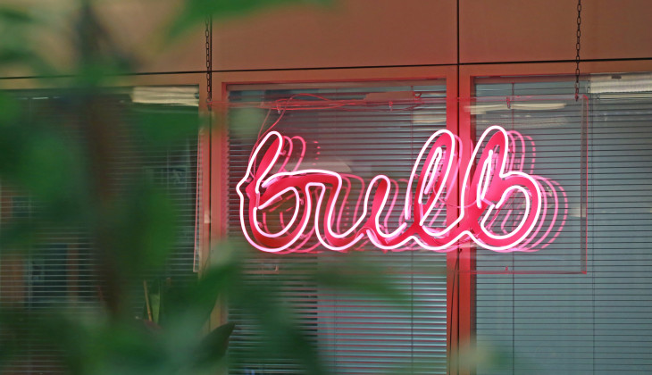 A neon sign in the Bulb office