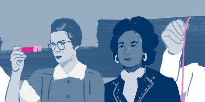 Illustration of four female pioneers of energy