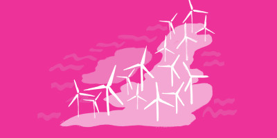 Illustration wind turbines pink background
