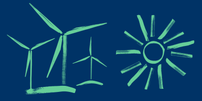 Illustration of wind turbines and the sun