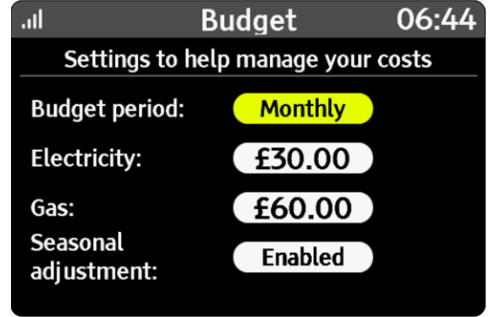 An illustration of the budget screen. You can set a budget for electricity and gas.