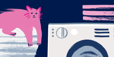 Illustrated cat sitting on a pile of washing