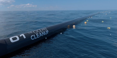 A view of the Ocean Cleanup Machine