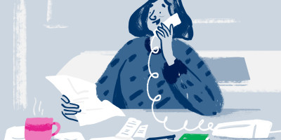 Illustration of a member on the phone to Citizens Advice with a cuppa
