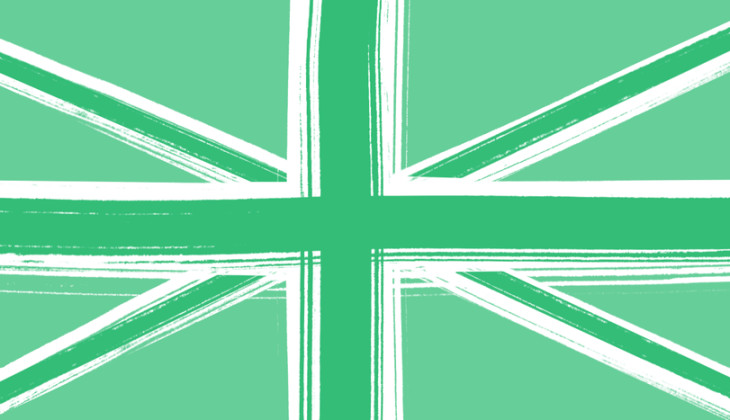 The flag of the Uk rendered in greens