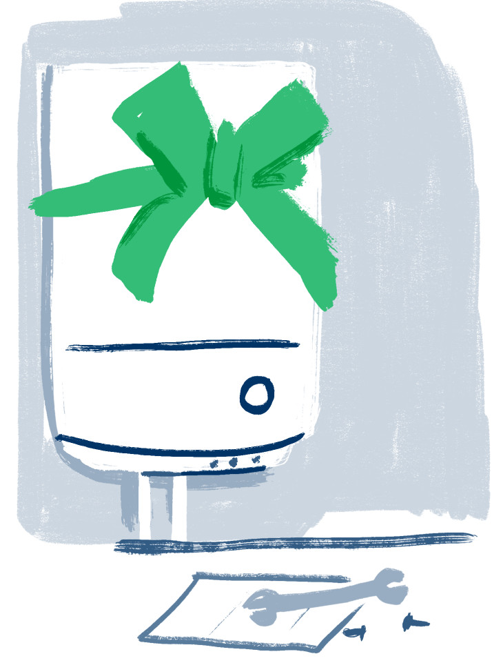 Illustration of a boiler with a big green ribbon around it