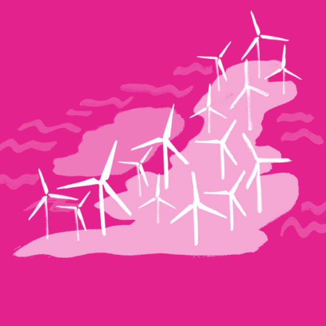 A pink painted map of the UK with lots of wind turbines