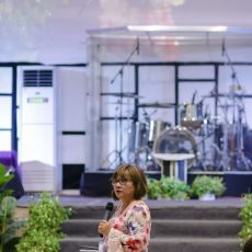 Pastor Cristina Sosso delivering a sermon in General Santos City at CCFI-Gensan