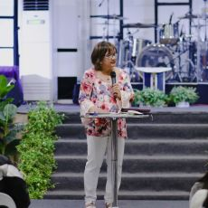 Cristina Sosso speaking onstage during the Prophetic Conference at CCFI-Gensan