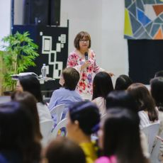 Cristina Sosso speaking at CCFI-Gensan in General Santos City