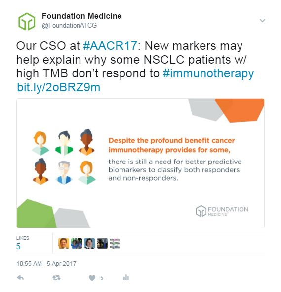 AACR tweet: Our CSO at AACR17: New markers may help explain why some NSCLC patients w/ high TMB don't respond to immunotherapy