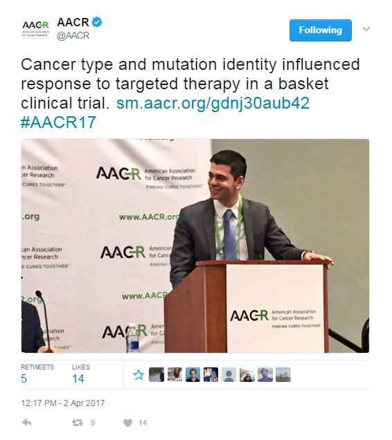 AACR Tweet: Cancer type and mutation identity influenced response to targeted therapy in a basket clinical trial.