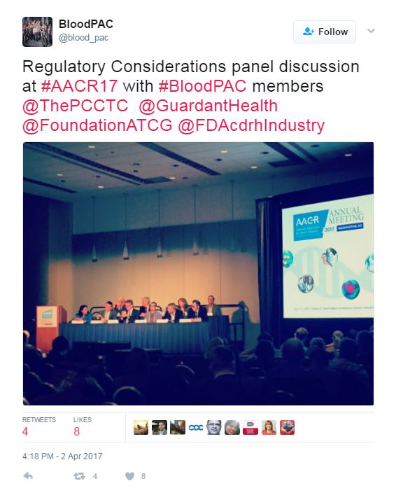 AACR Tweet: Regulatory Considerations panel discussion at #AACR17 with #BloodPAC members