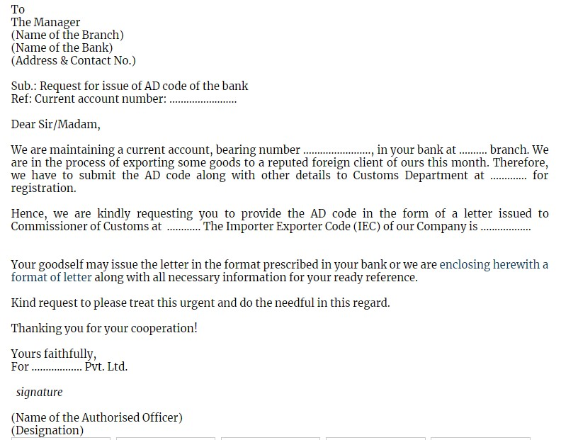Request letter to bank for bank certificate for AD Code