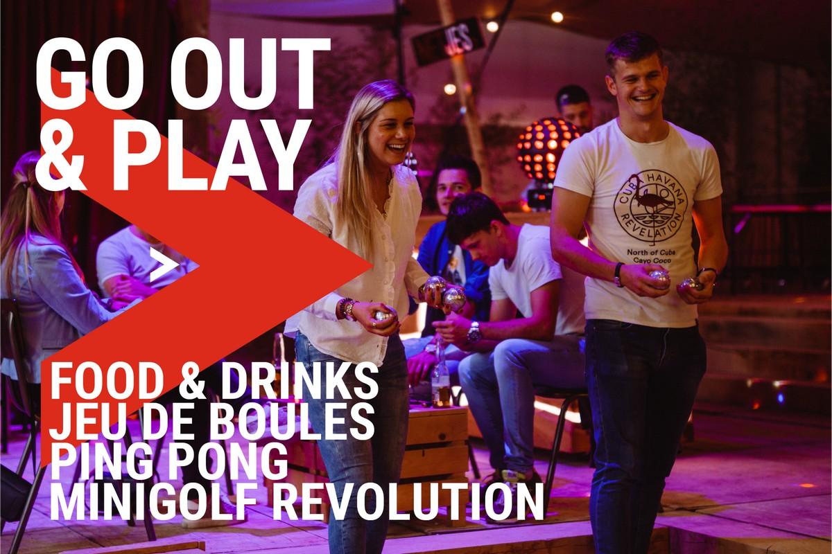 PLAYGRND Minigolfrevolutin ping pong en jeu de boules club