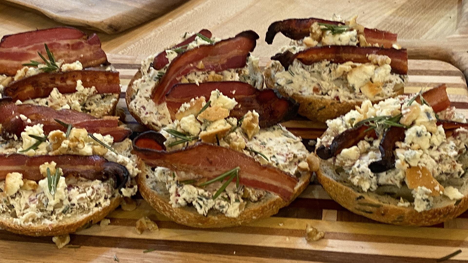 Blue Cream Cheese Bagels with Walnuts, Bacon and Rosemary | Bagel Lab