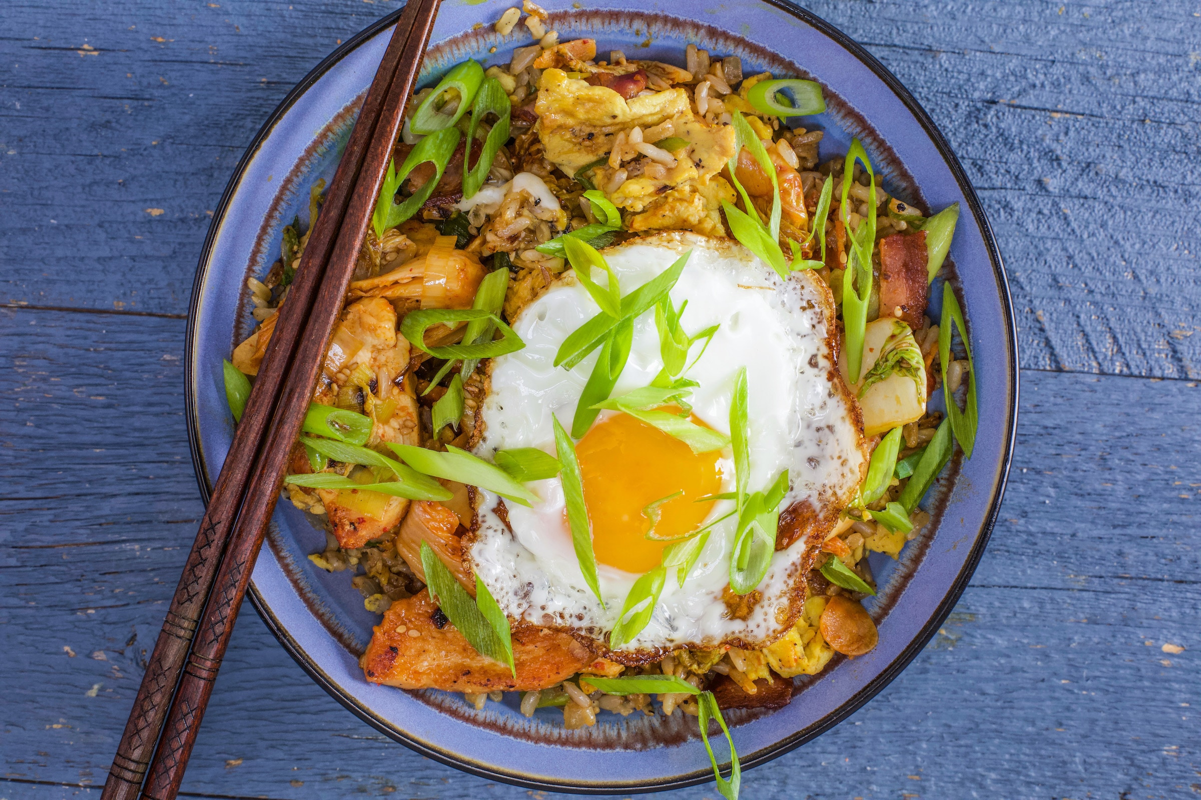 Rachael's Chicken and Kimchi Stir-Fry with Bacon and Egg Fried Rice
