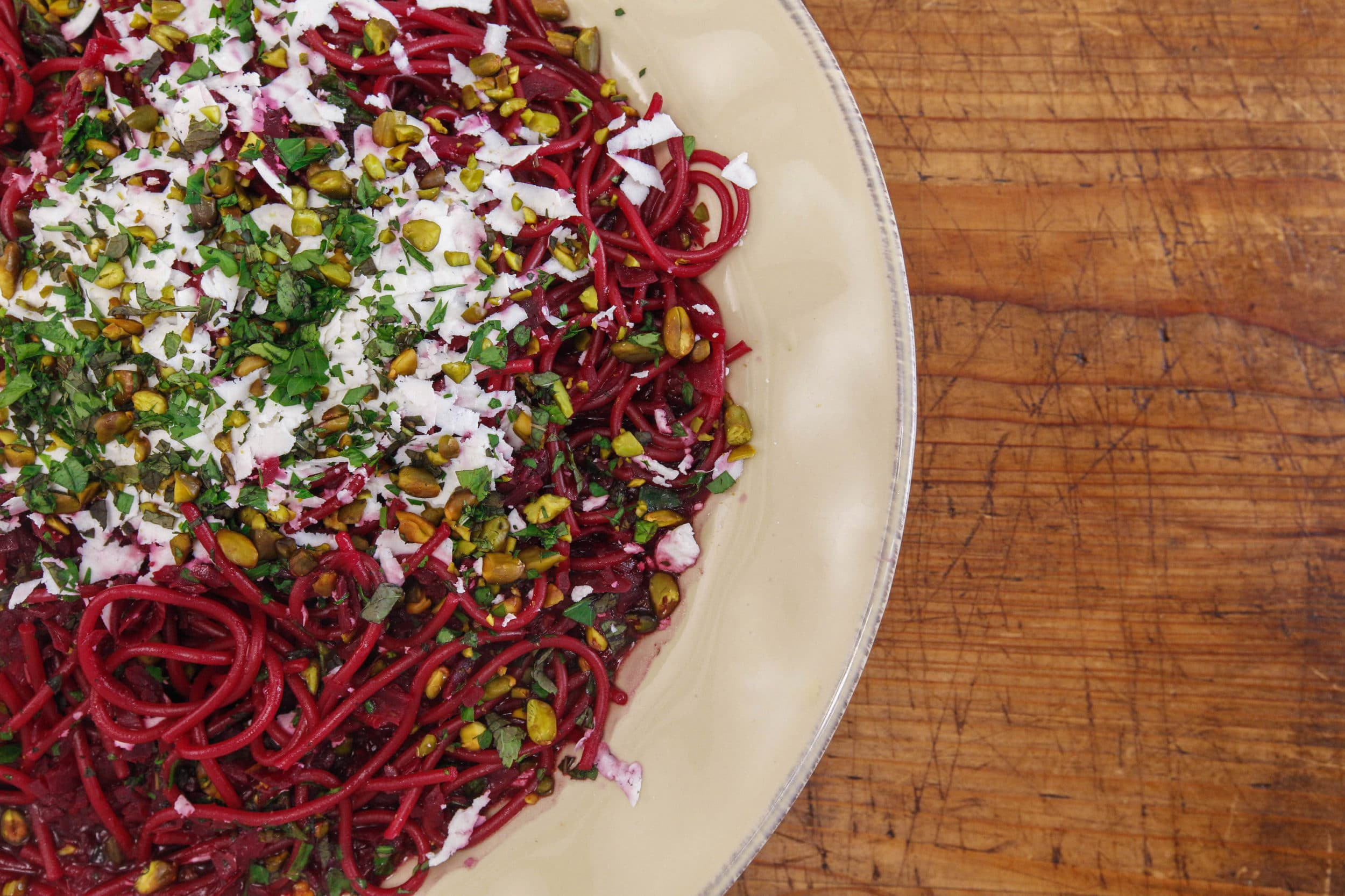 Roasted Beet Spaghetti Cooked in Red Wine