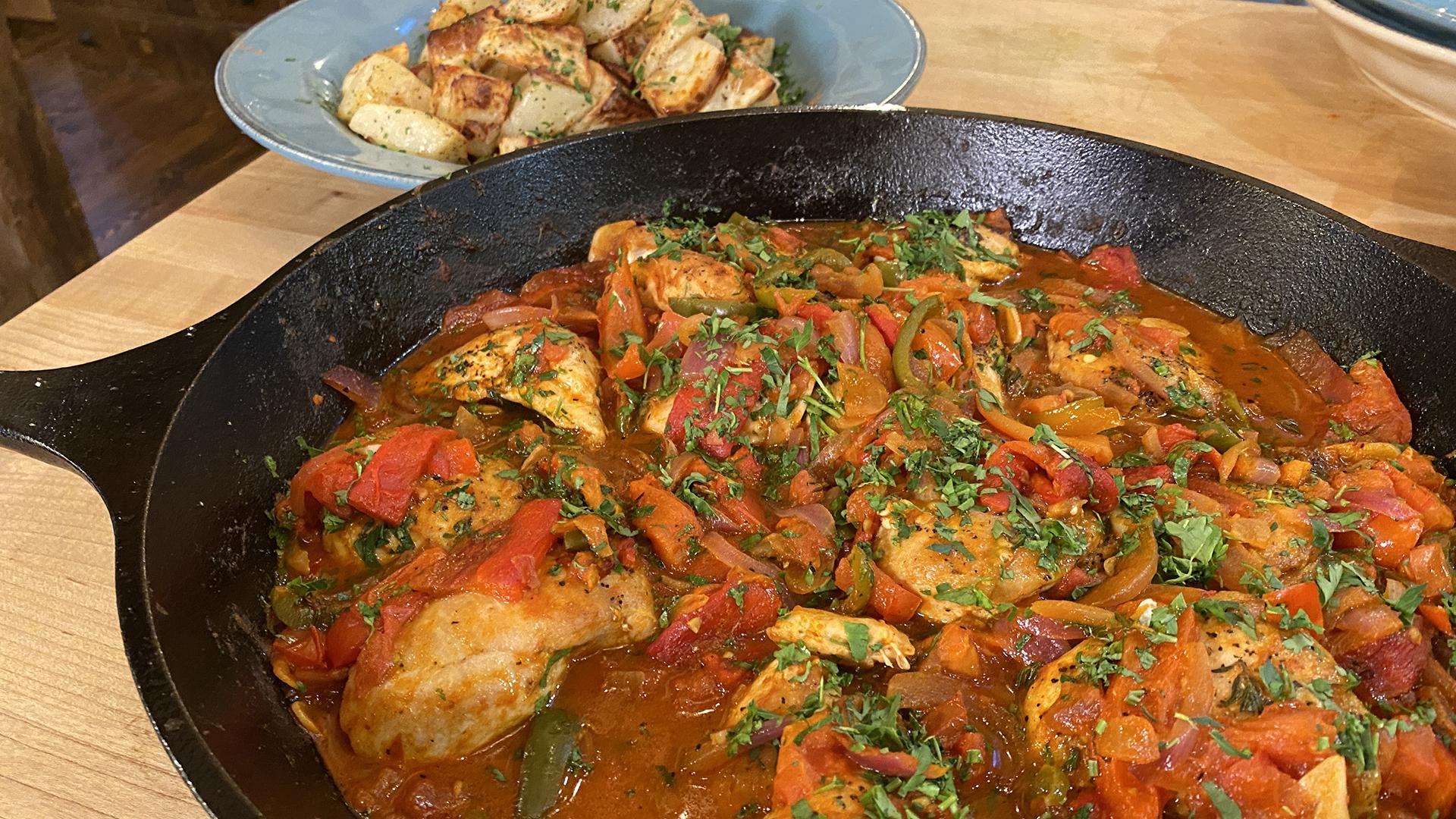 Smoky Spanish Chicken with Peppers + Roasted Potatoes