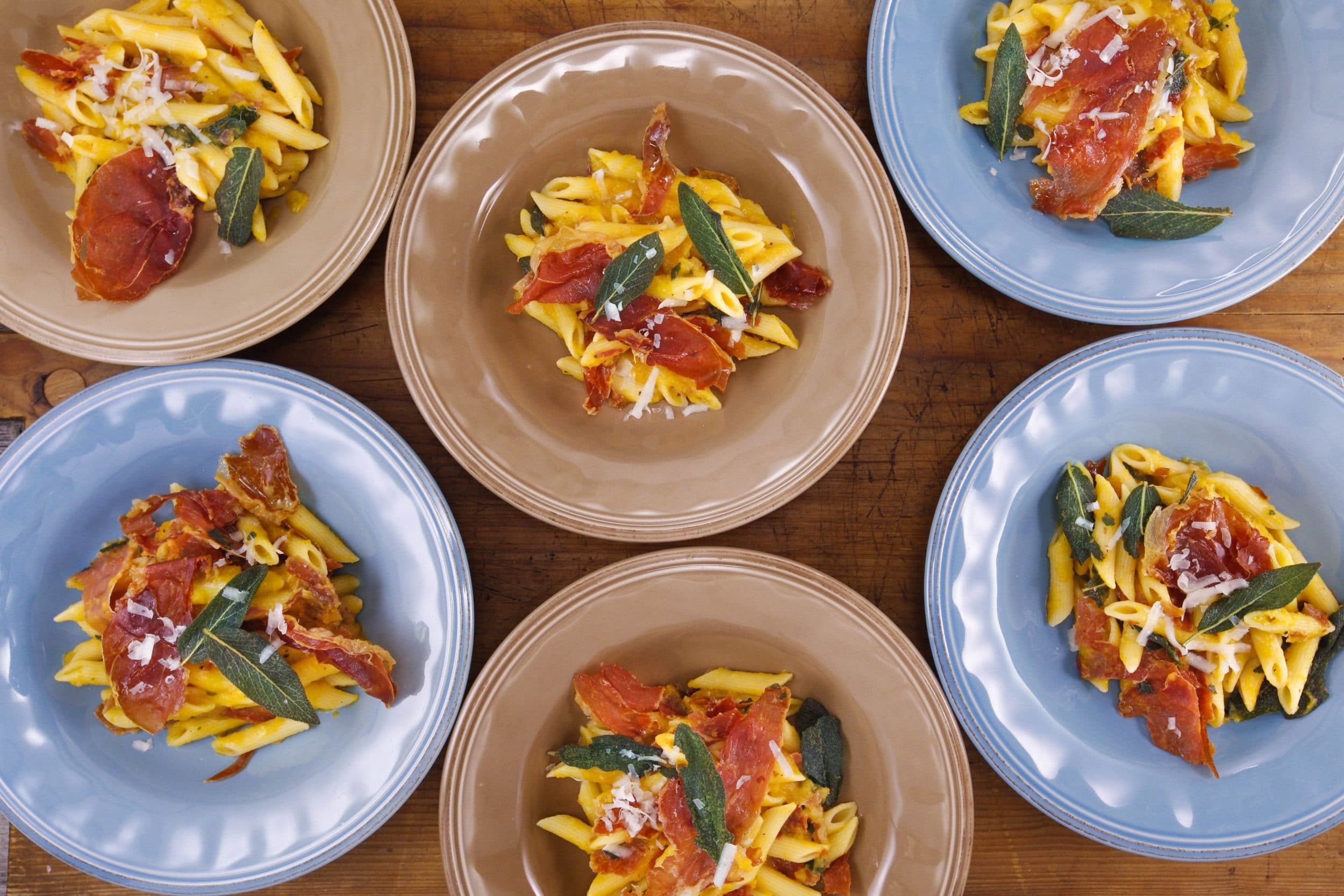 Penne with Brown Butter and Squash Sauce and Crispy Prosciutto