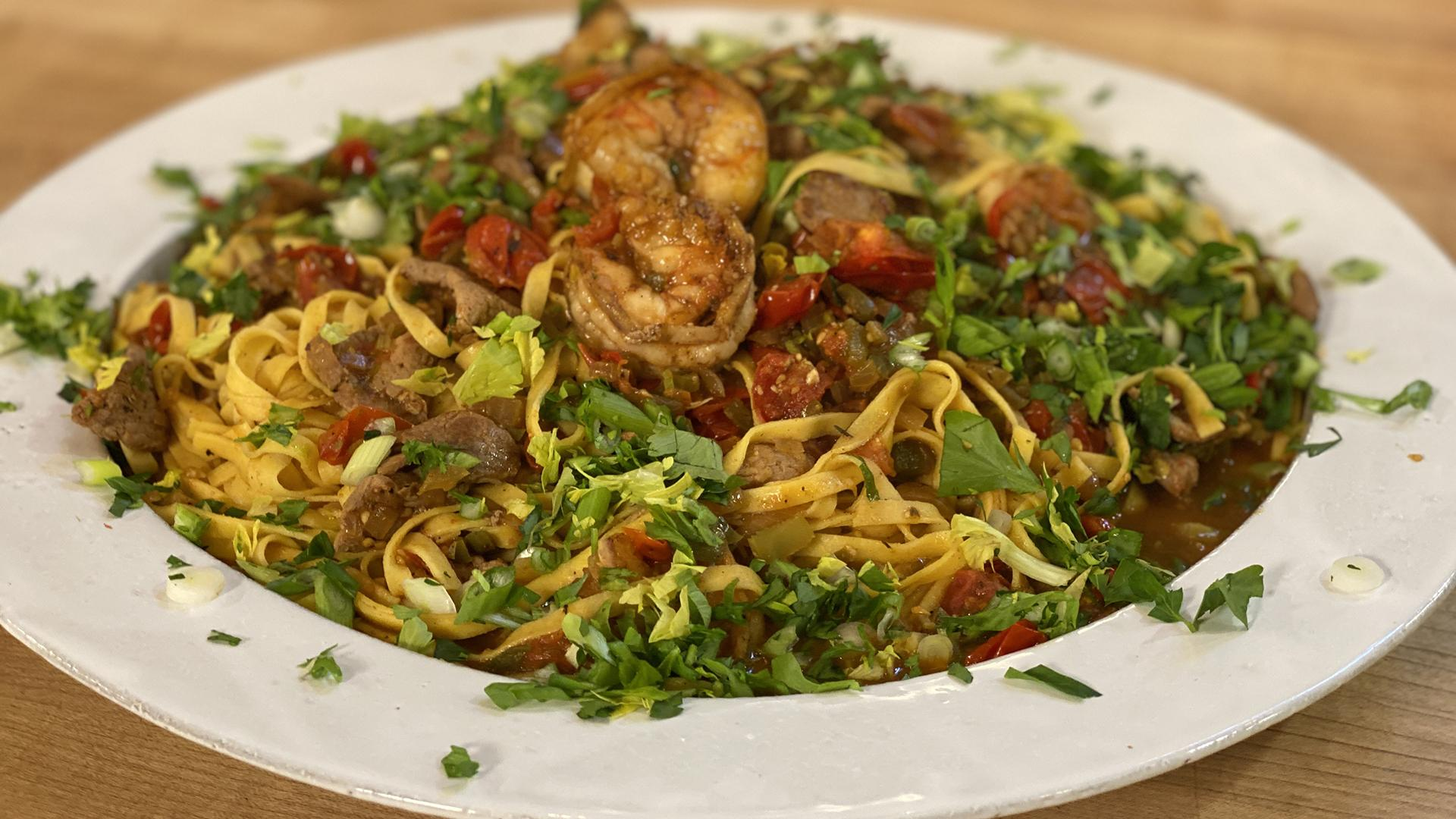 Jambalaya-Style Pasta with Spicy Pork (or Chicken) and Shrimp