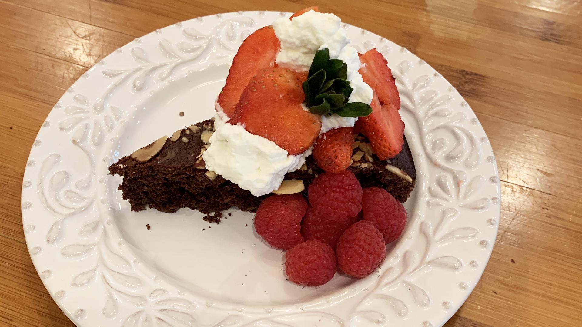 Chocolate Almond Torte With Berries | Rachael's Sister Maria