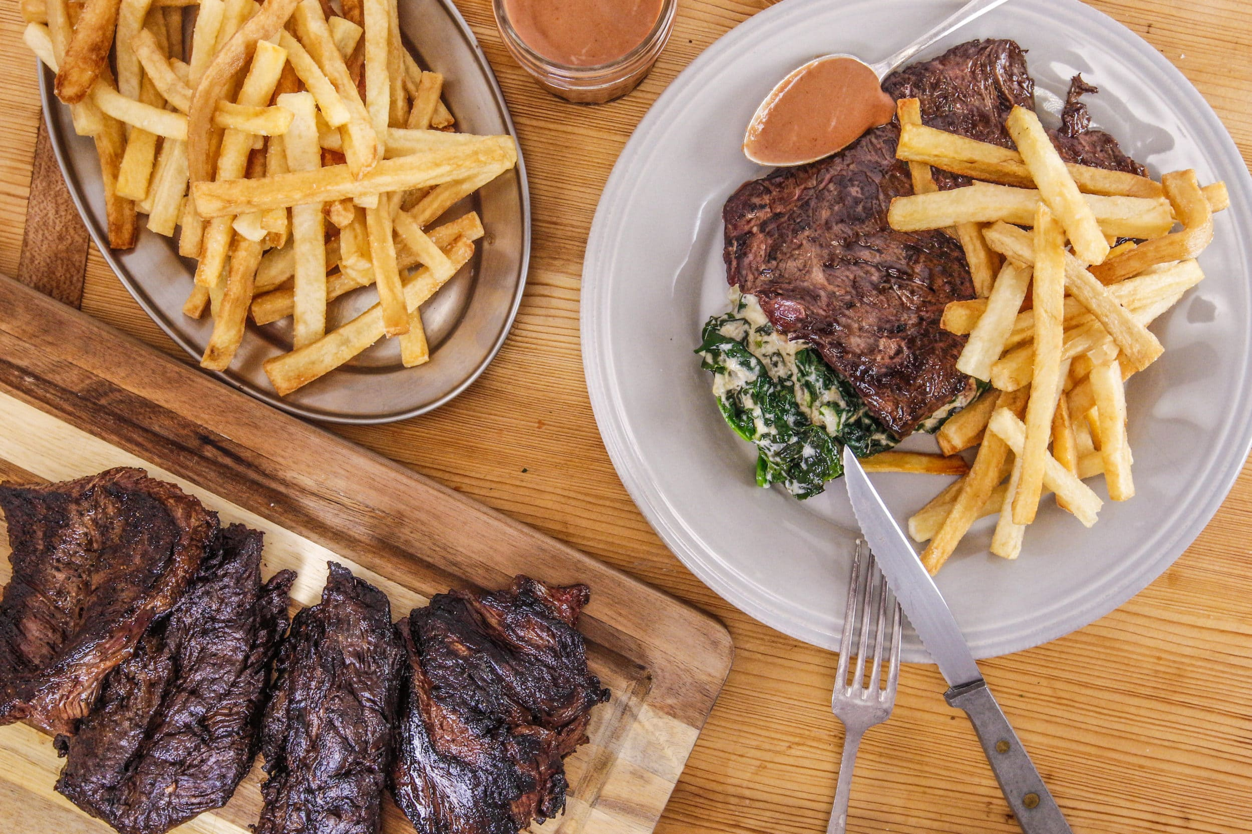 Rachael's Steak Frites and Creamed Spinach