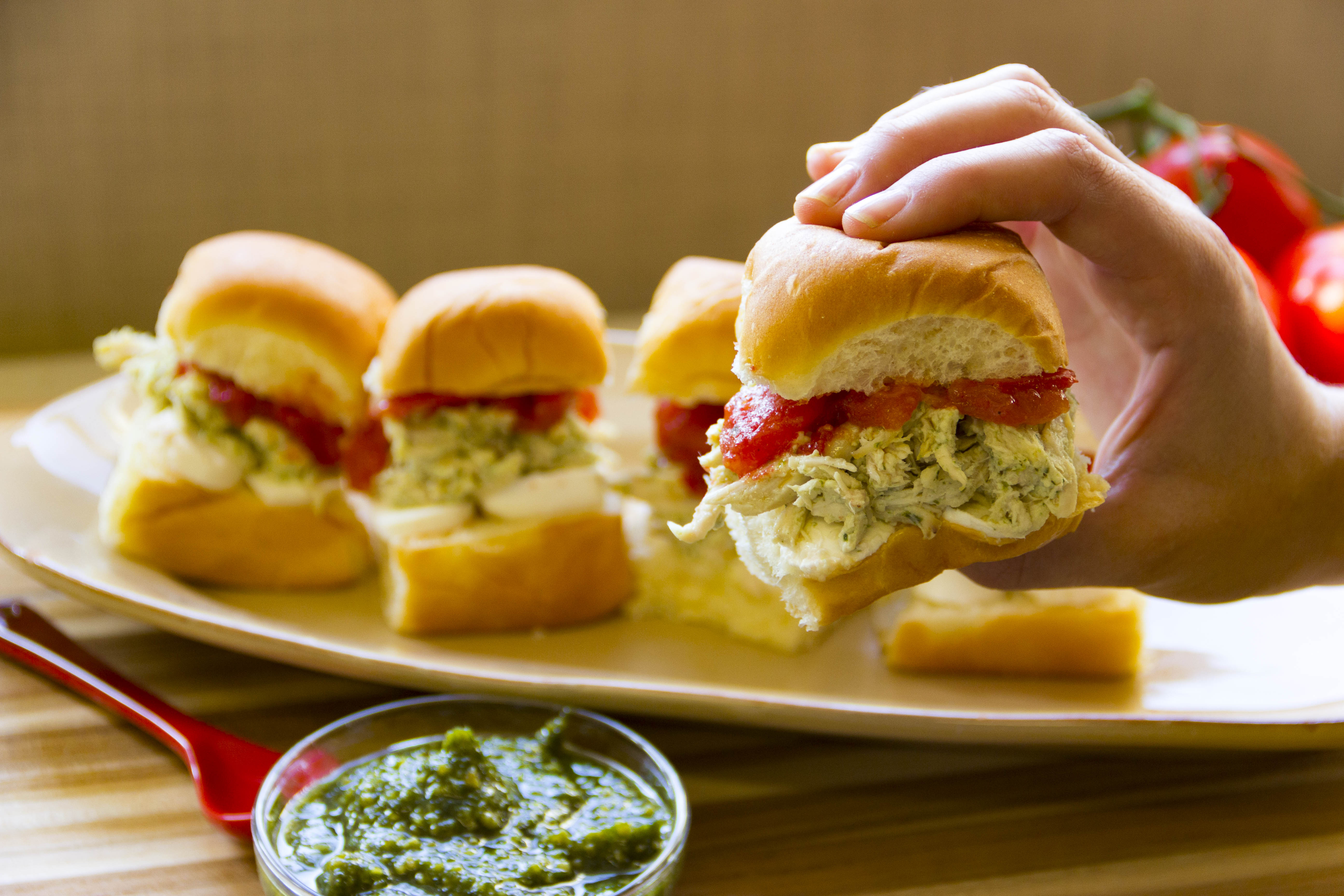 Pesto Chicken Salad Slider with Melted Tomatoes