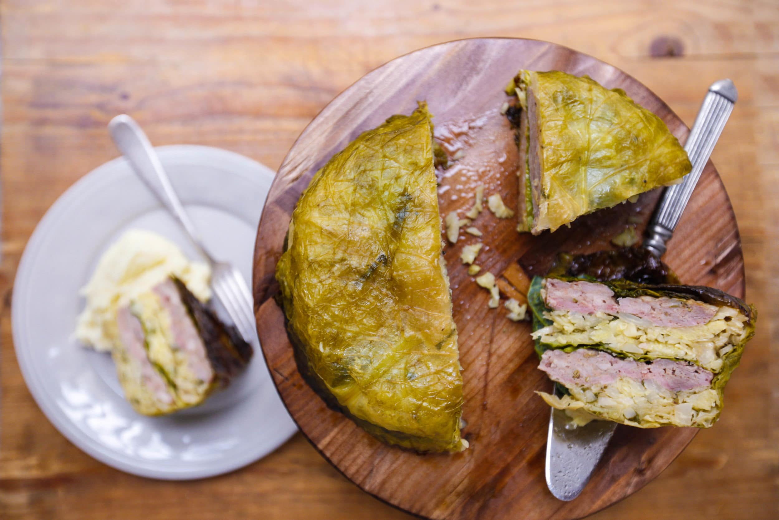 Stuffed Cabbage Cake with Sausage
