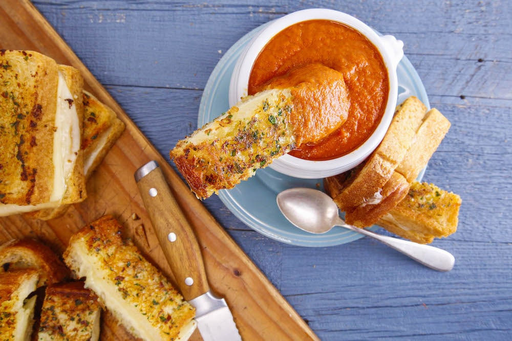 Tomato-Vegetable Soup and Grilled Four-Cheese Soldiers