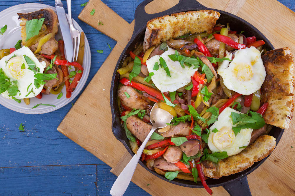 Sausage, Peppers, Onions and Fennel Skillet