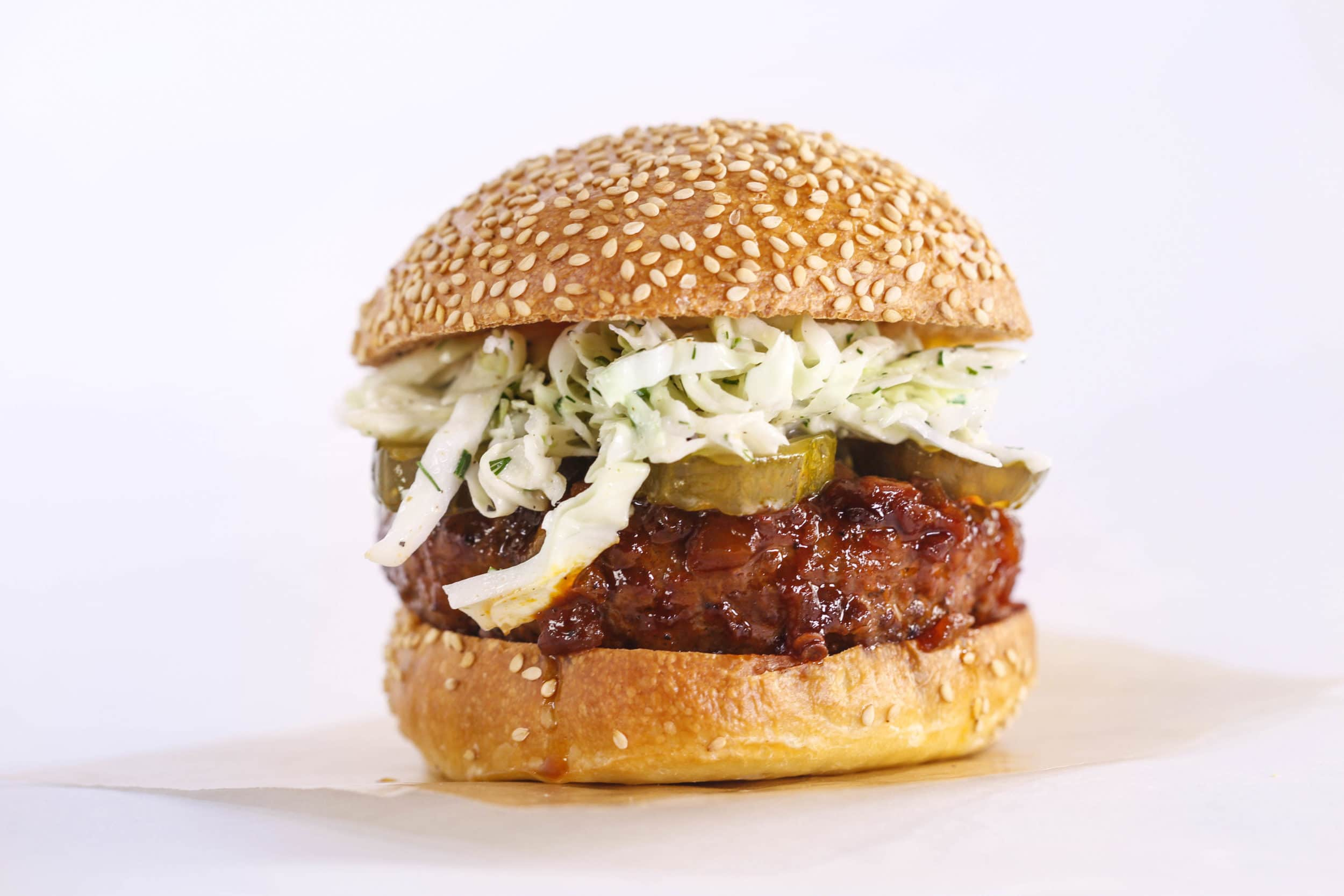 BBQ-Dipped Burgers with Ranch Slaw