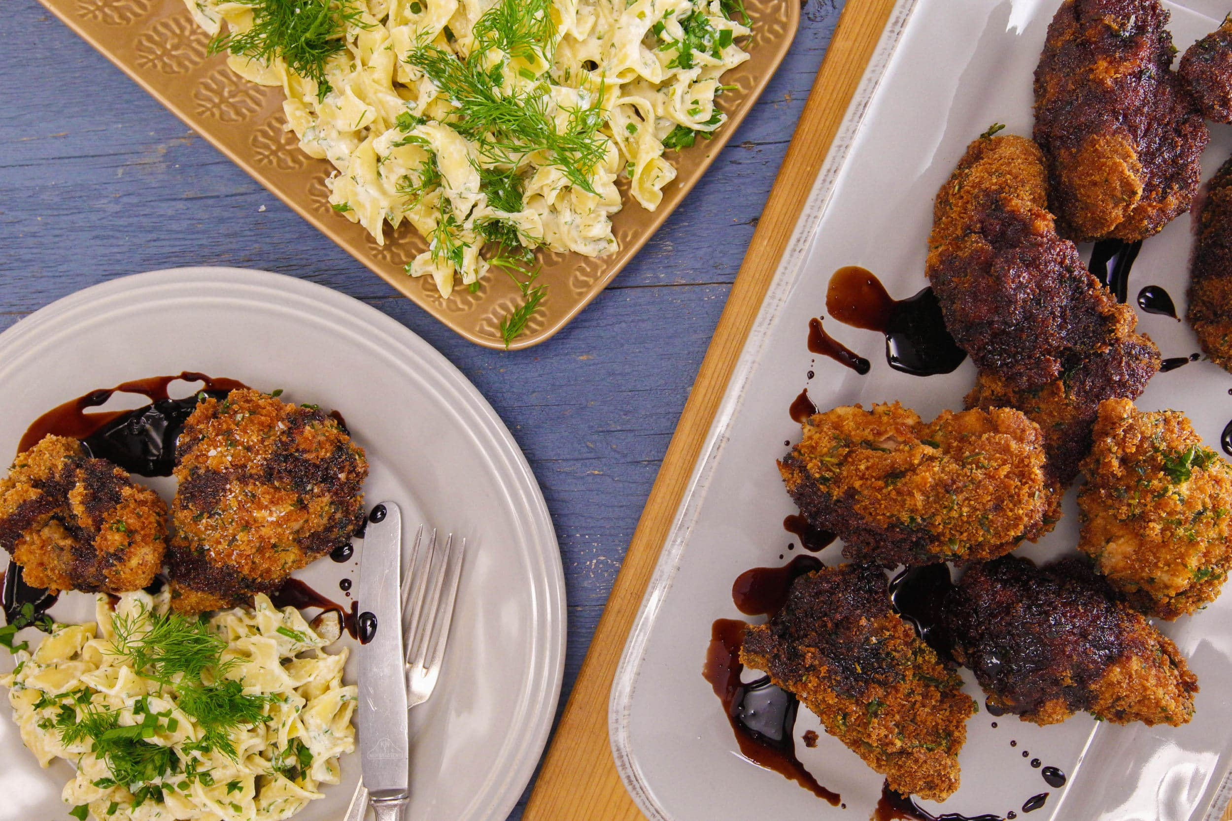 Coq-Au-Vin Fried Chicken and Ranch Noodles