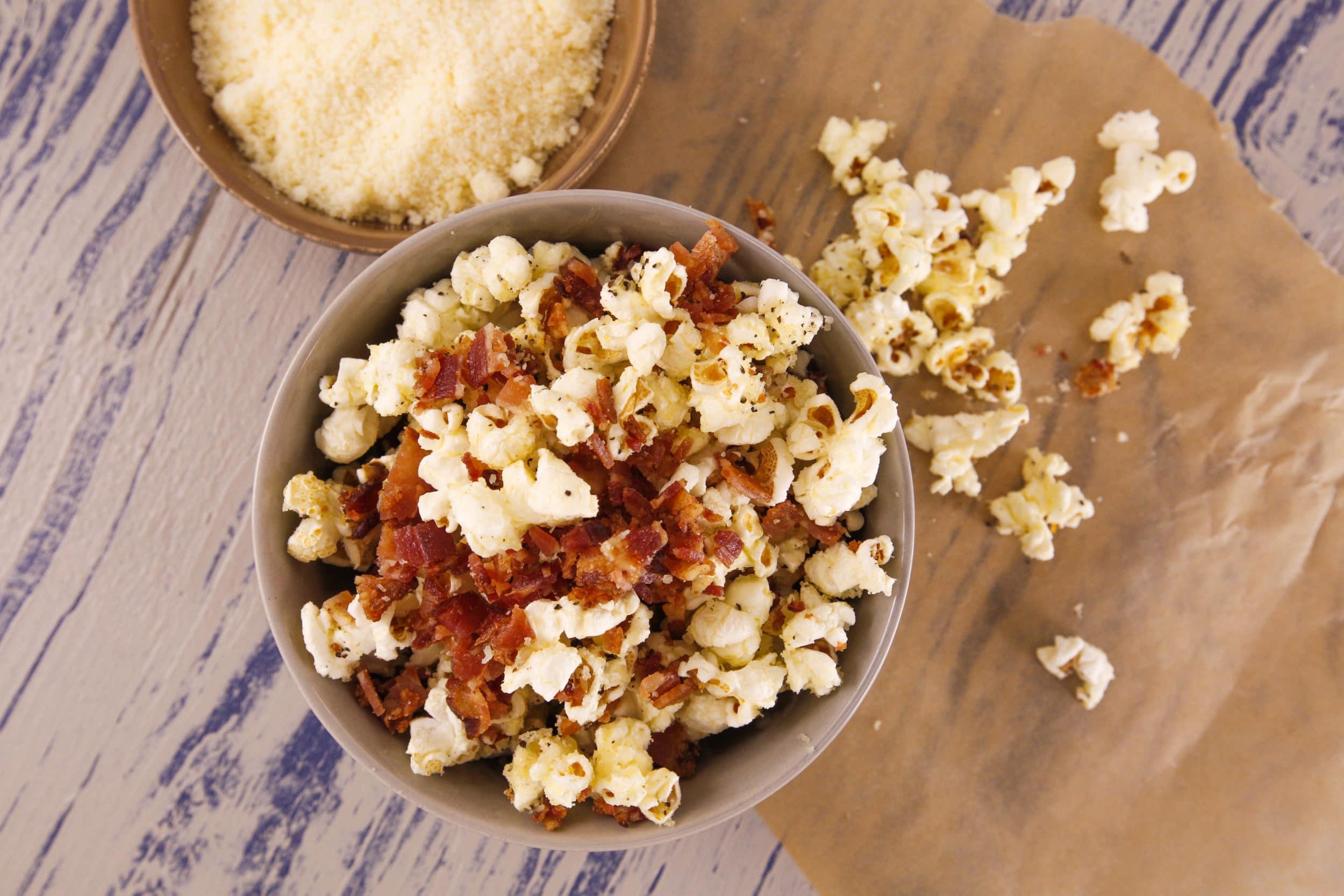Cacio e Pepe Popcorn with Bacon